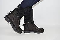 Ботинки женские демисезонные Foletti 145 чёрные кожа, фото 1