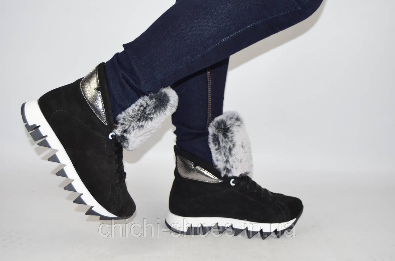 Ботинки женские зимние Eclipse 542-8 чёрные замша