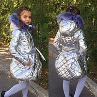 Детская куртка с мехом разные цвета на рост 116-128см