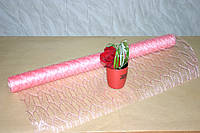 Розовая сетка для цветов и подарков листок (Leaf 10 ярдов)