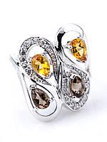 Кольцо серебряное с цитрином и раухтопазом