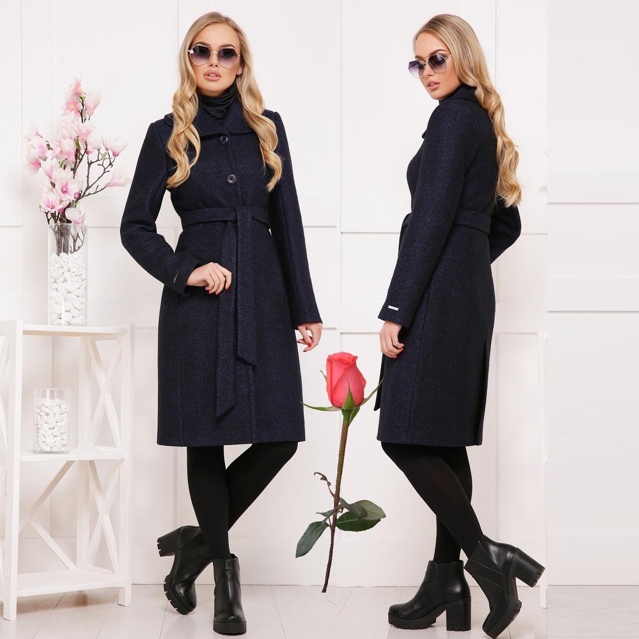 Красивое демисезонное пальто из ткани букле СК 319 -  Черное
