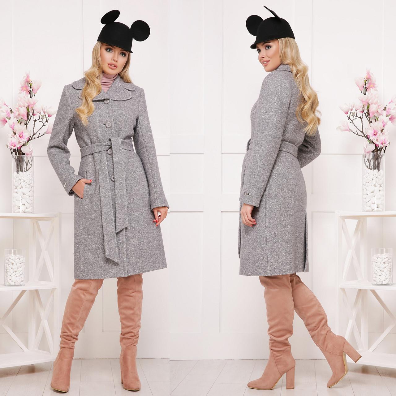 Красивое демисезонное пальто из ткани букле СК 319 -  Серый светлый