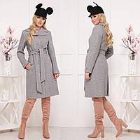 Красивое демисезонное пальто из ткани букле СК 319 -  Серый светлый, фото 1