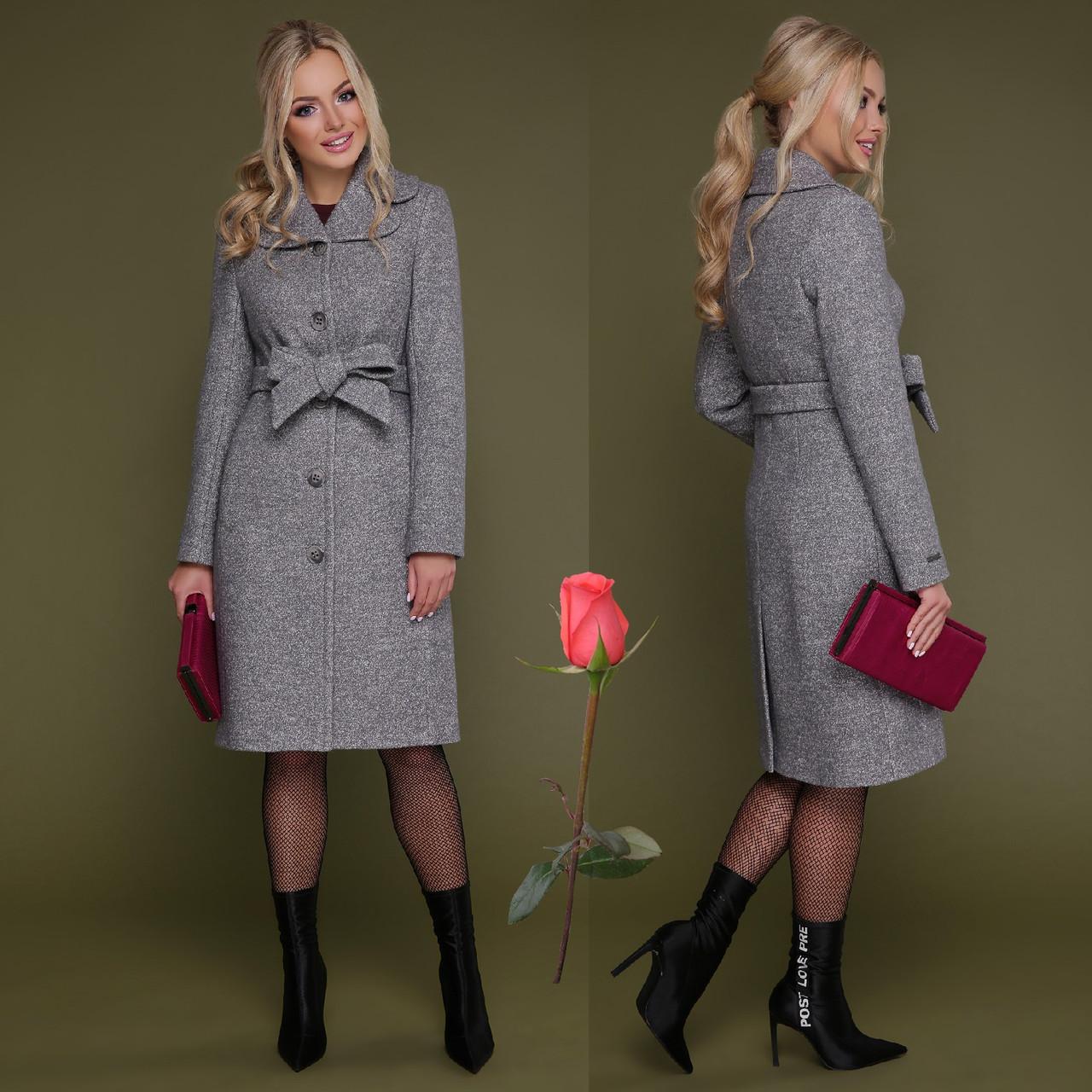 Красивое демисезонное пальто из ткани букле СК 319 -  Серый