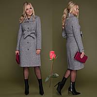 Красивое демисезонное пальто из ткани букле СК 319 -  Серый, фото 1