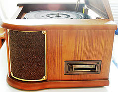 Деревянный Грамофон Проигрыватель Roadstar HIF-1893 TUMK Радио CD USB Mp3  + Пульт, фото 3