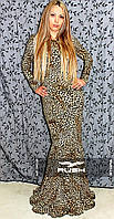 Леопардовое платье в пол с цепочками и вырезом на спине