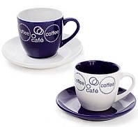 """Набор 2 чашки """"Mokko Coffee Blue"""" 250мл с блюдцами, синие"""