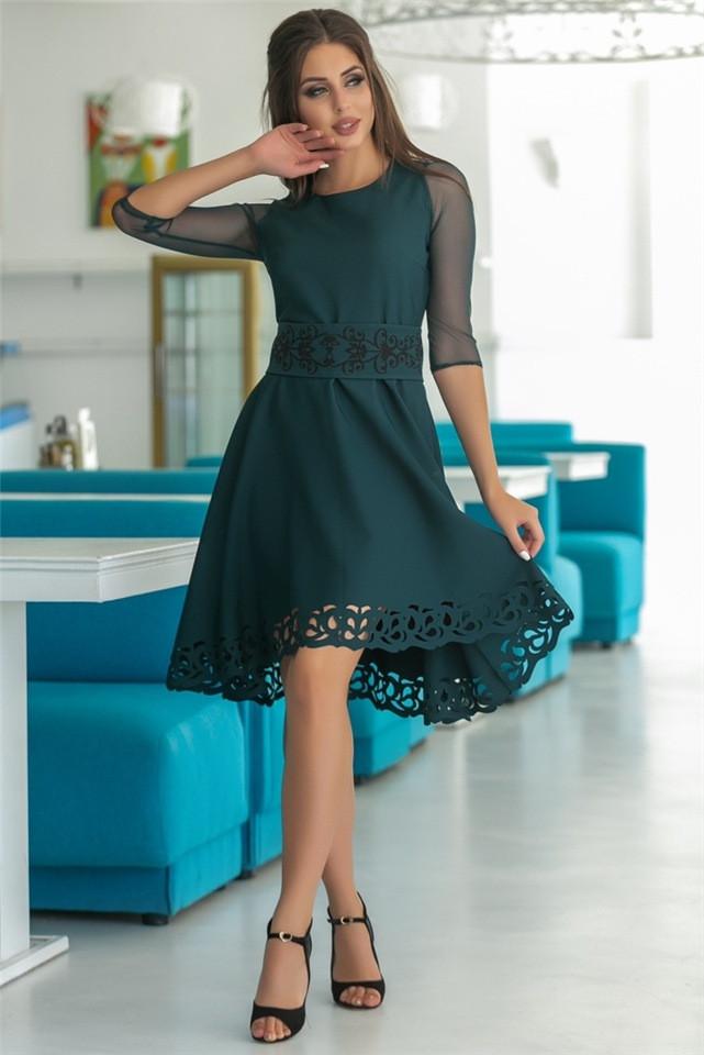 Женское Платье, цвет - Изумруд (141)665-3. (6 цветов) Ткань: креп + сетка + перфорация + термо фотопечать. Размеры: 44, 46, 48, 50, 52.