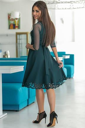 Женское Платье, цвет - Изумруд (141)665-3. (6 цветов) Ткань: креп + сетка + перфорация + термо фотопечать. Размеры: 44, 46, 48, 50, 52., фото 2