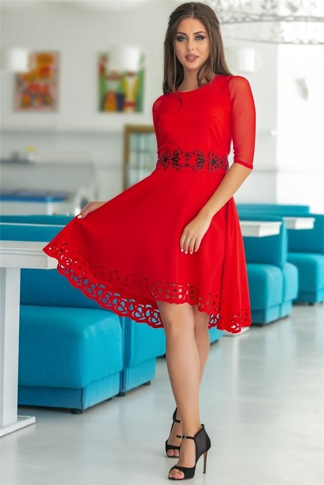 Женское Платье, цвет - Красный (141)665-5. (6 цветов) Ткань: креп + сетка + перфорация + термо фотопечать. Размеры: 44, 46, 48, 50, 52.