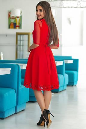 Женское Платье, цвет - Красный (141)665-5. (6 цветов) Ткань: креп + сетка + перфорация + термо фотопечать. Размеры: 44, 46, 48, 50, 52., фото 2