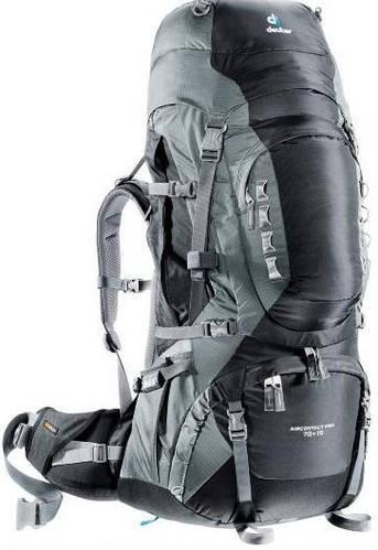 Удобный туристический рюкзак на 75+15 л. DEUTER Aircontact PRO, 33843 7490 черный
