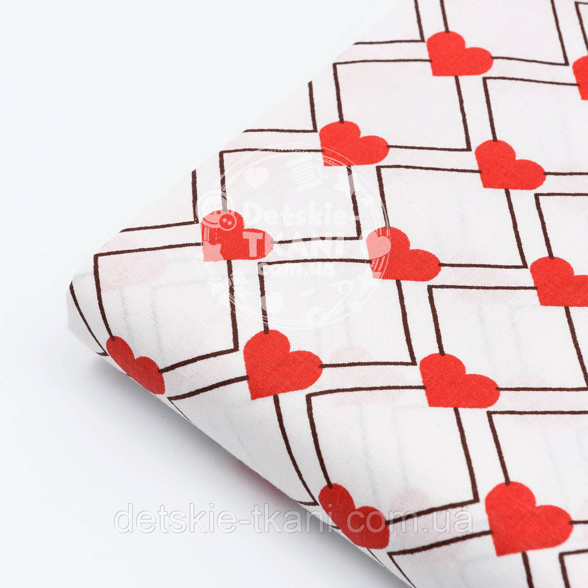 """Лоскут ткани №410а """"Красные сердечки с ромбами"""""""