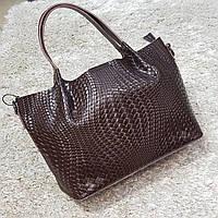 Женская сумка из натуральной кожи шоколадная, фото 1