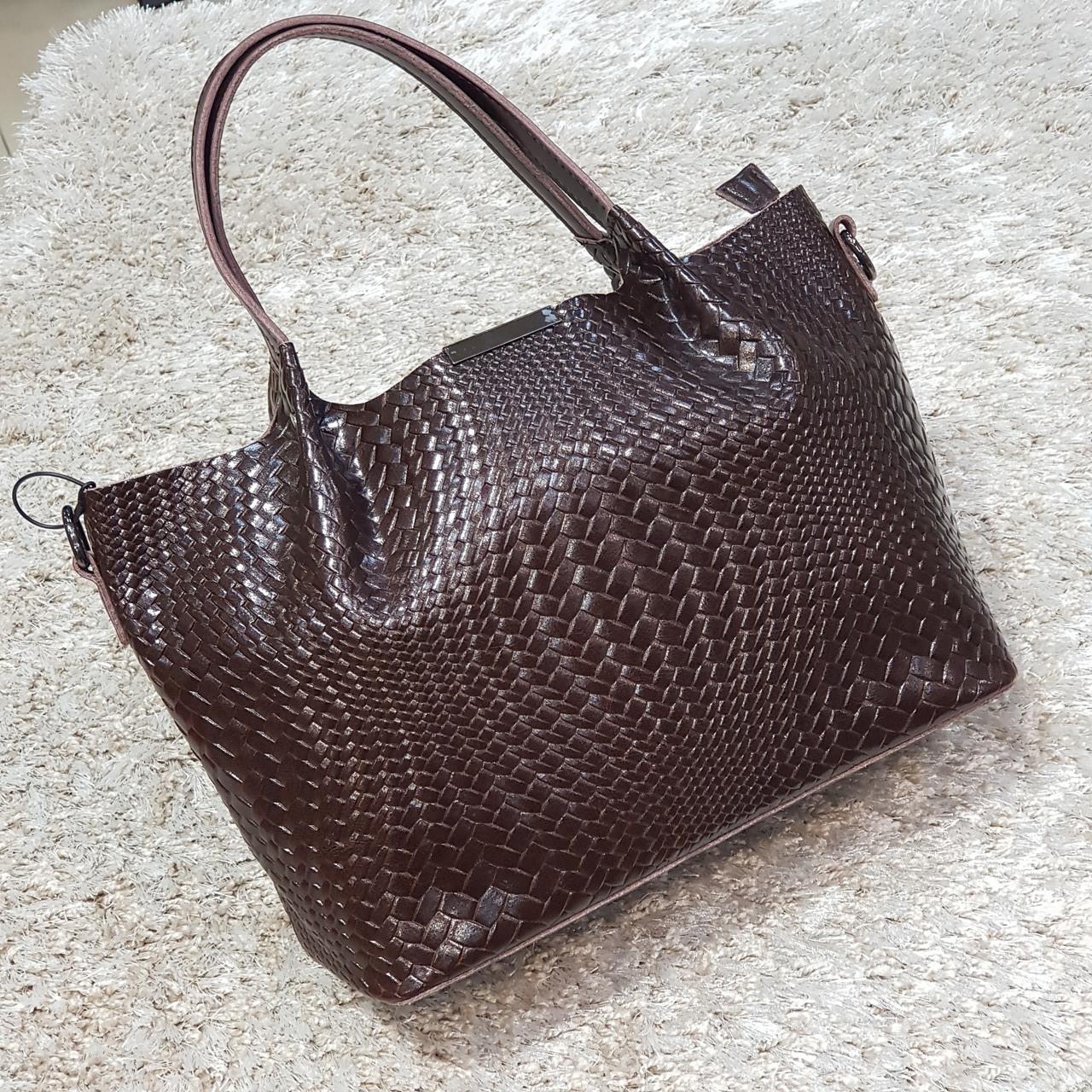 Женская сумка из натуральной кожи шоколадная