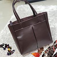 Женская  шоколадная сумочка из натуральной кожи, фото 1