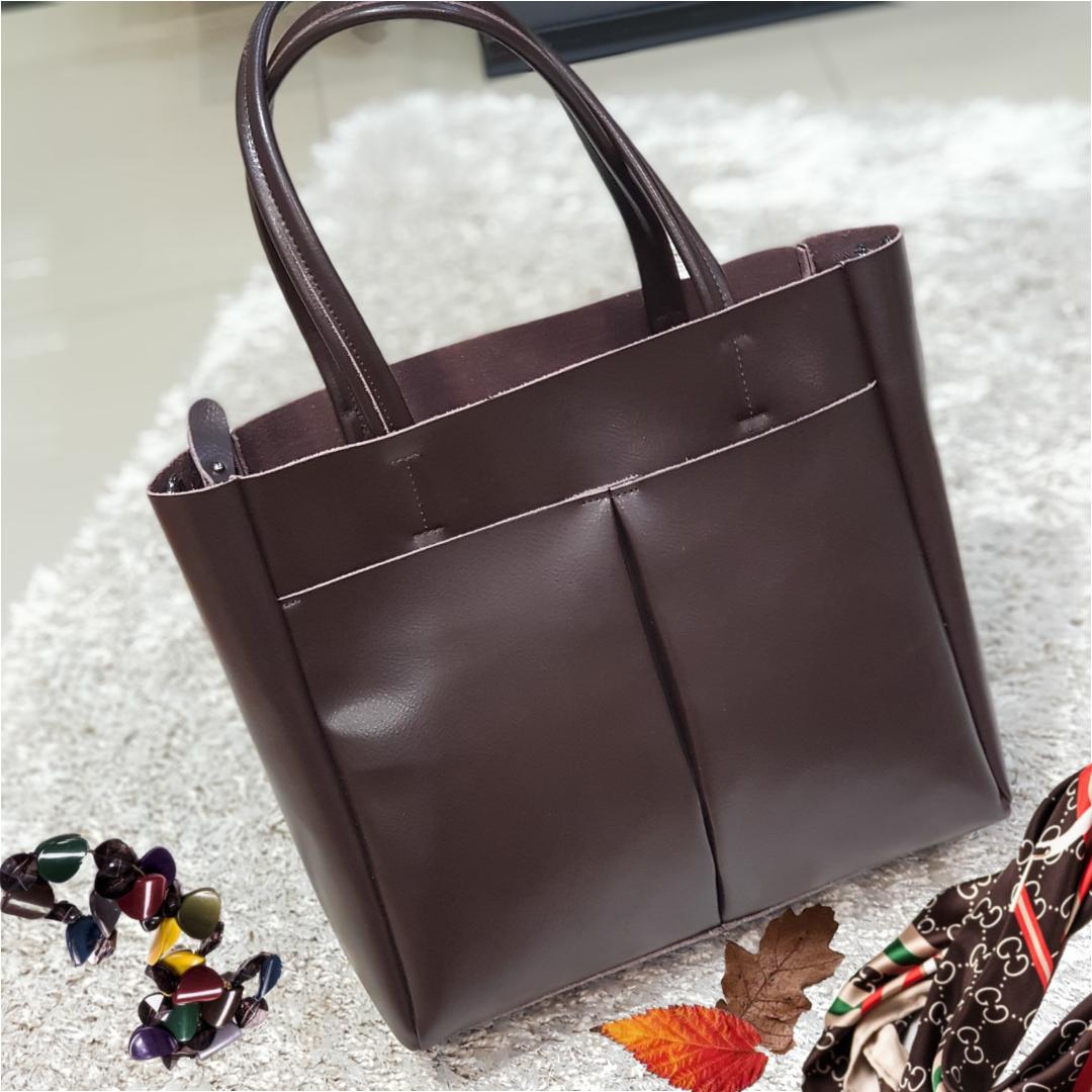 Женская  шоколадная сумочка из натуральной кожи