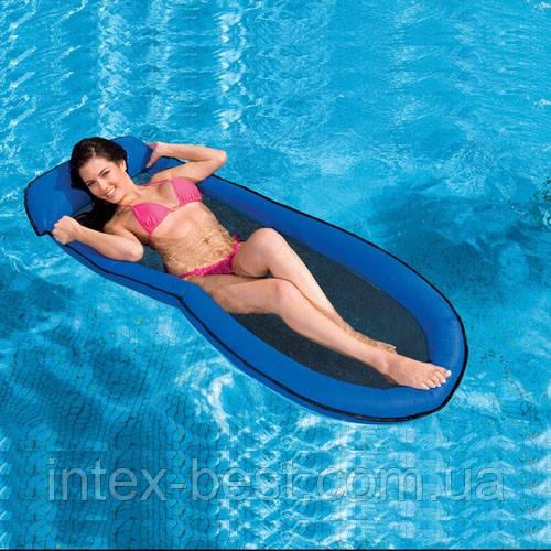 """Пляжное надувное кресло - гамак """"Сетчатое дно"""" Intex 58833 Синее (178х99 см.)"""