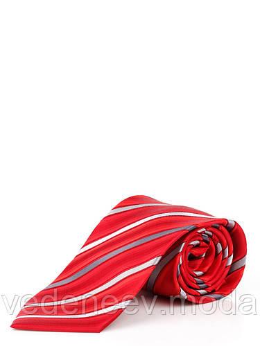 Галстук шелковый в диагональную красно-серую многоцветную полоску