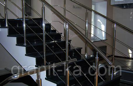 Лестница на второй этаж из гранита, фото 2