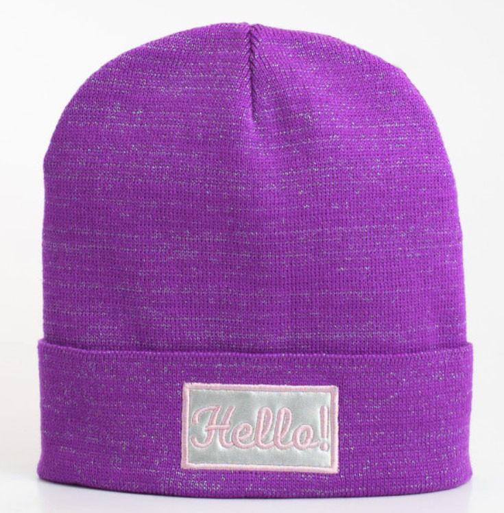 вязаная шапка с люрексом Hello фиолетового цвета продажа цена в