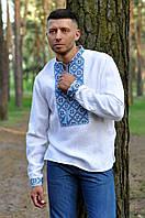 Мужская вышиванка белого цвета с голубым геометрическим орнаментом в этно-стиле М19/2-213
