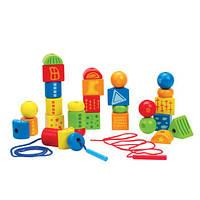 Деревянная игрушка Шнуровка с геометрическими фигурамиHape