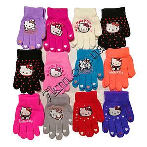 """Перчатки детские одинарные +начес для девочек """"Helloy Kitty"""" 4-6 лет Оптом 5017 M"""