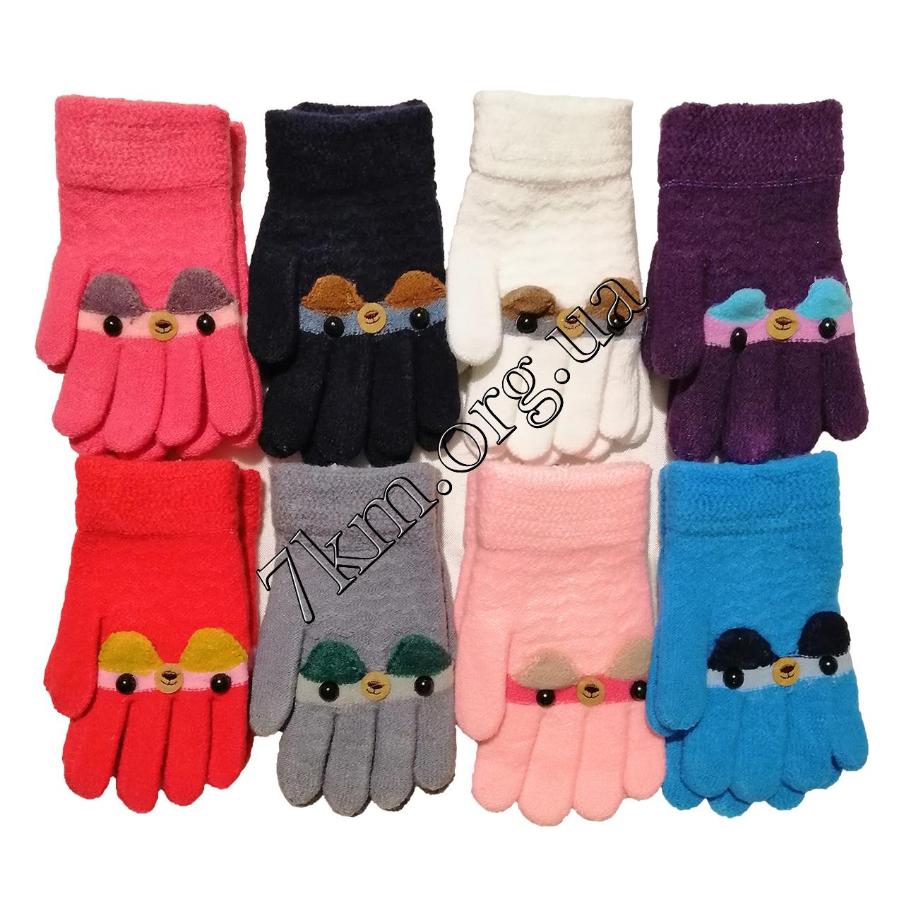 Перчатки детские одинарные +начес для девочек 6-8 лет Оптом 5801 M