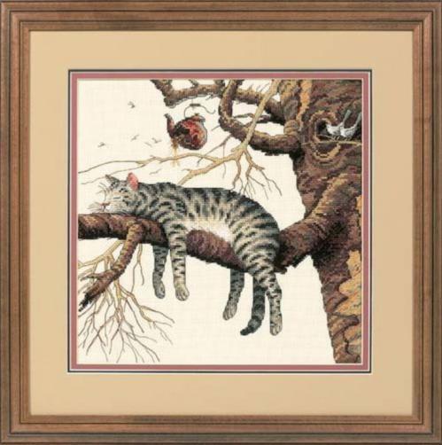 """35087 Набор для вышивания крестом DIMENSIONS Too Pooped Cat """"Слишком устал"""", Код товара: 1057788"""