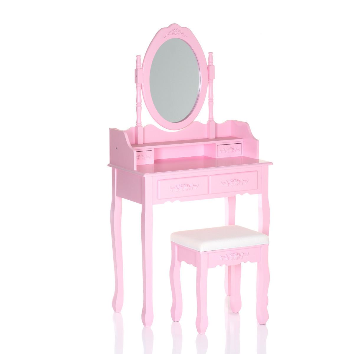 Туалетный столик розовый + табурет