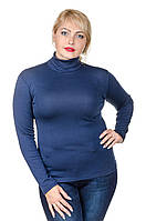 Гольф теплый женский размер плюс Флис темно-синий (42-60)