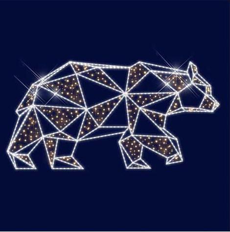 """3D светодиодная конструкция медведь """"Гризли"""" 1,5*3,0*0,5"""