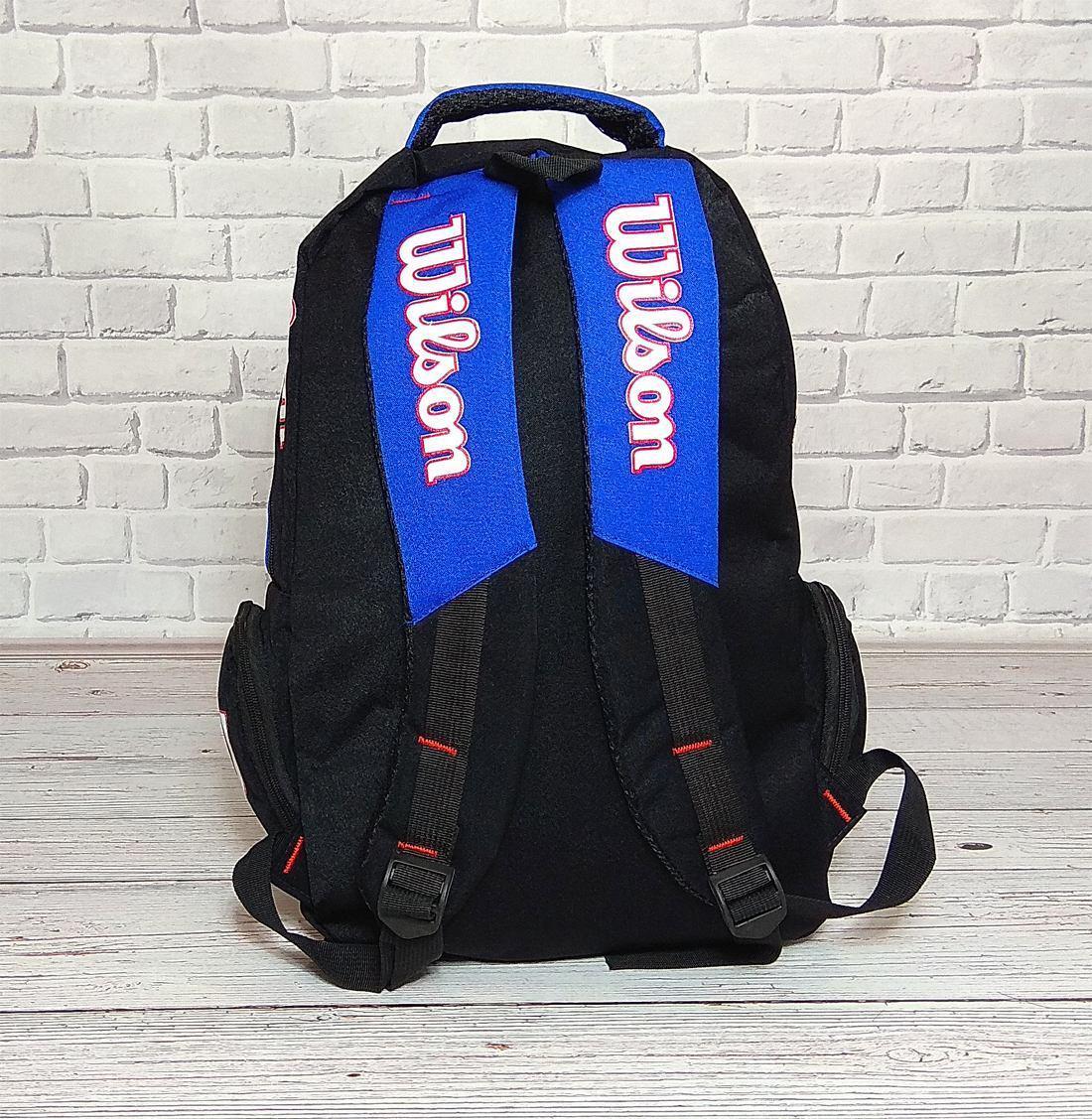 d49bacdabb79 Вместительный рюкзак Wilson для школы, спорта. Черный с синим ...