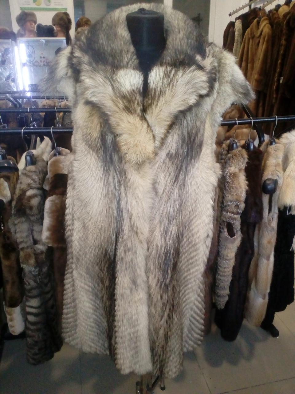 Волк удлиненный жилет из волка натуральный мех волка 48 50 размер