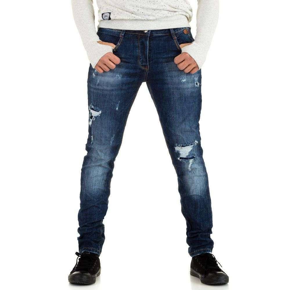 Узкие джинсы мужские с рваным эффектом Y.Two Jeans (Италия), Синий