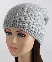 Вязаная шапка с защипом Паула светло-серого цвета