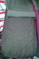 """Зимний конверт в коляску на овчине с вышивкой """"Три Мишки"""" бежевый"""