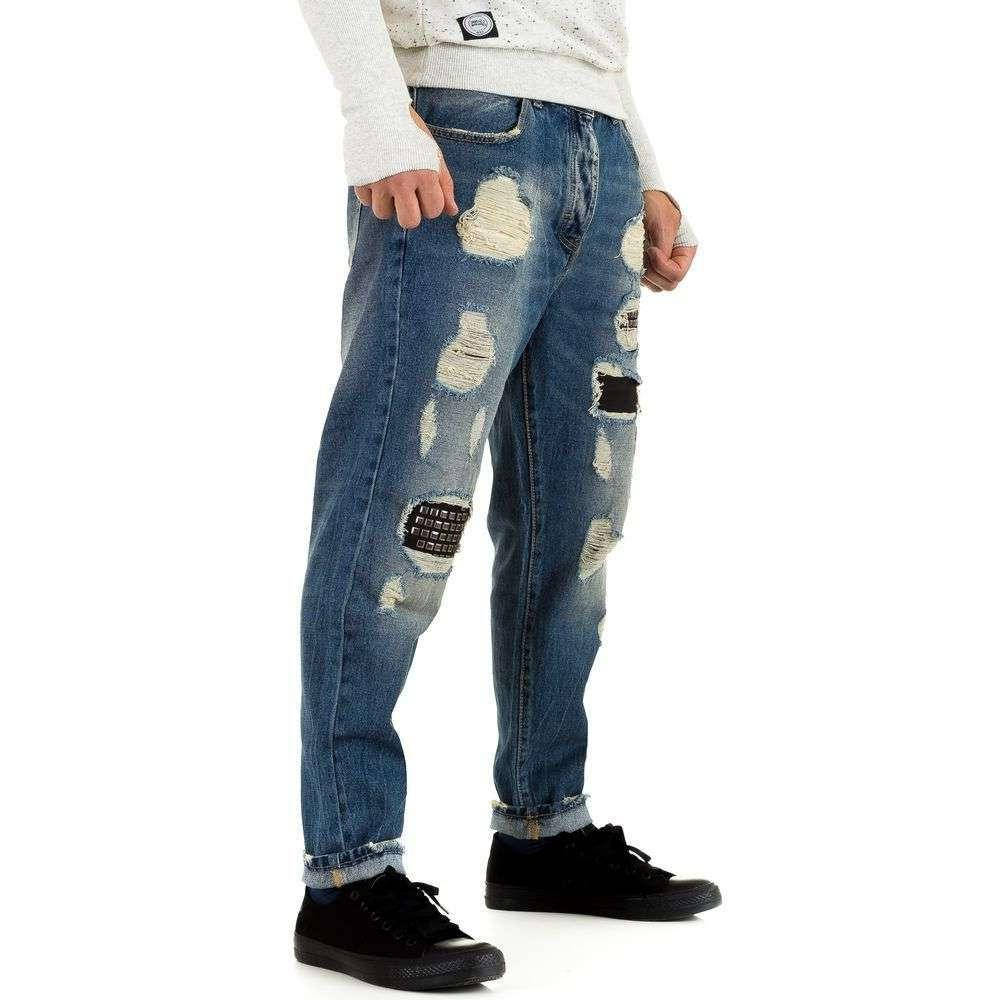 Свободные джинсы мужские с дырками Y.Two Jeans (Италия), Синий