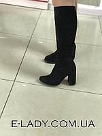 Классическиедемисезонные сапожки на высоком каблуке из натуральной замши