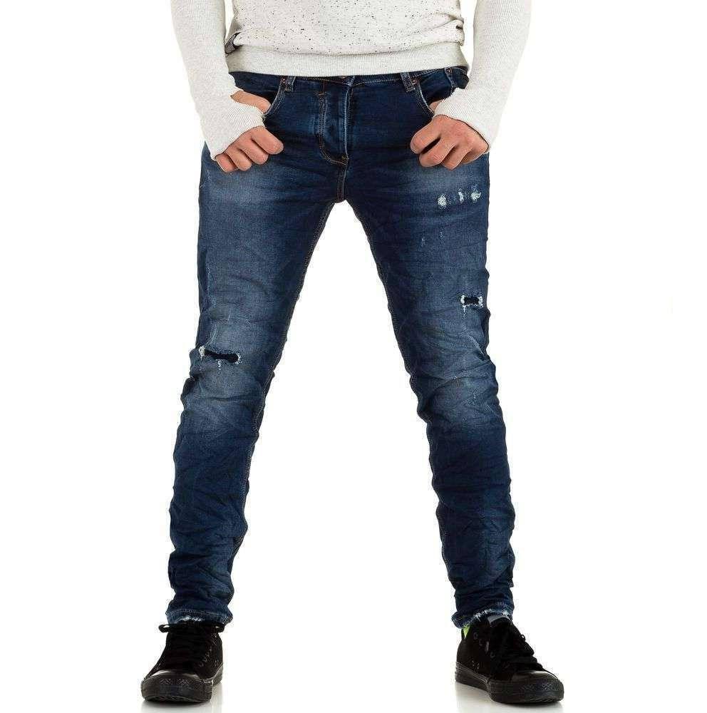 Мятые джинсы мужские с дырками Y.Two Jeans (Италия), Синий