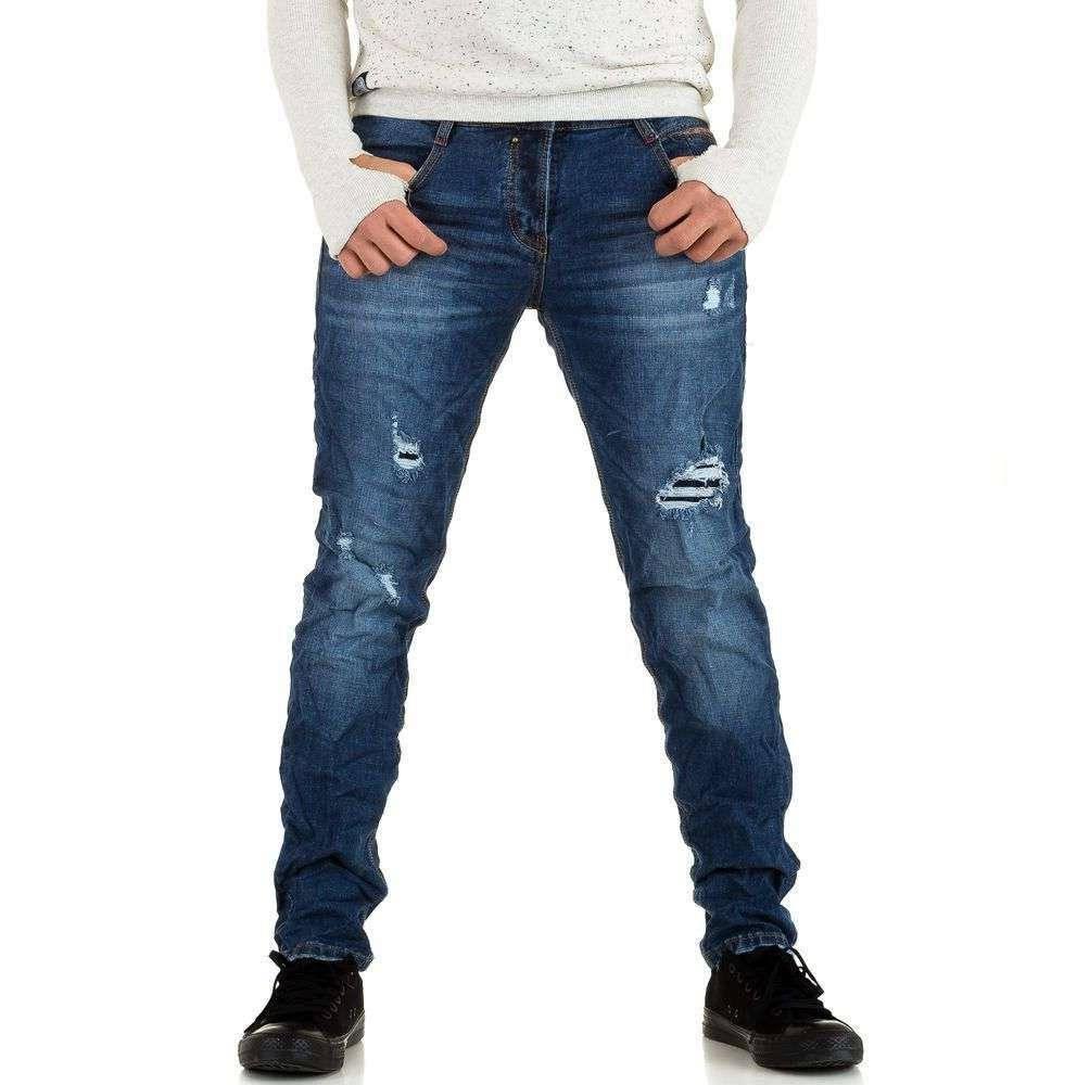 Рваные узкие джинсы мужские Y.Two Jeans (Италия), Синий