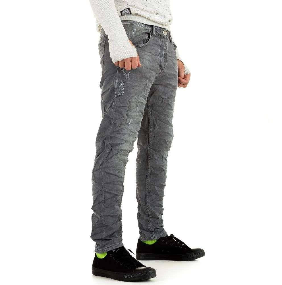 Джинсы мужские мятые Y.Two Jeans (Италия), Светло-серый