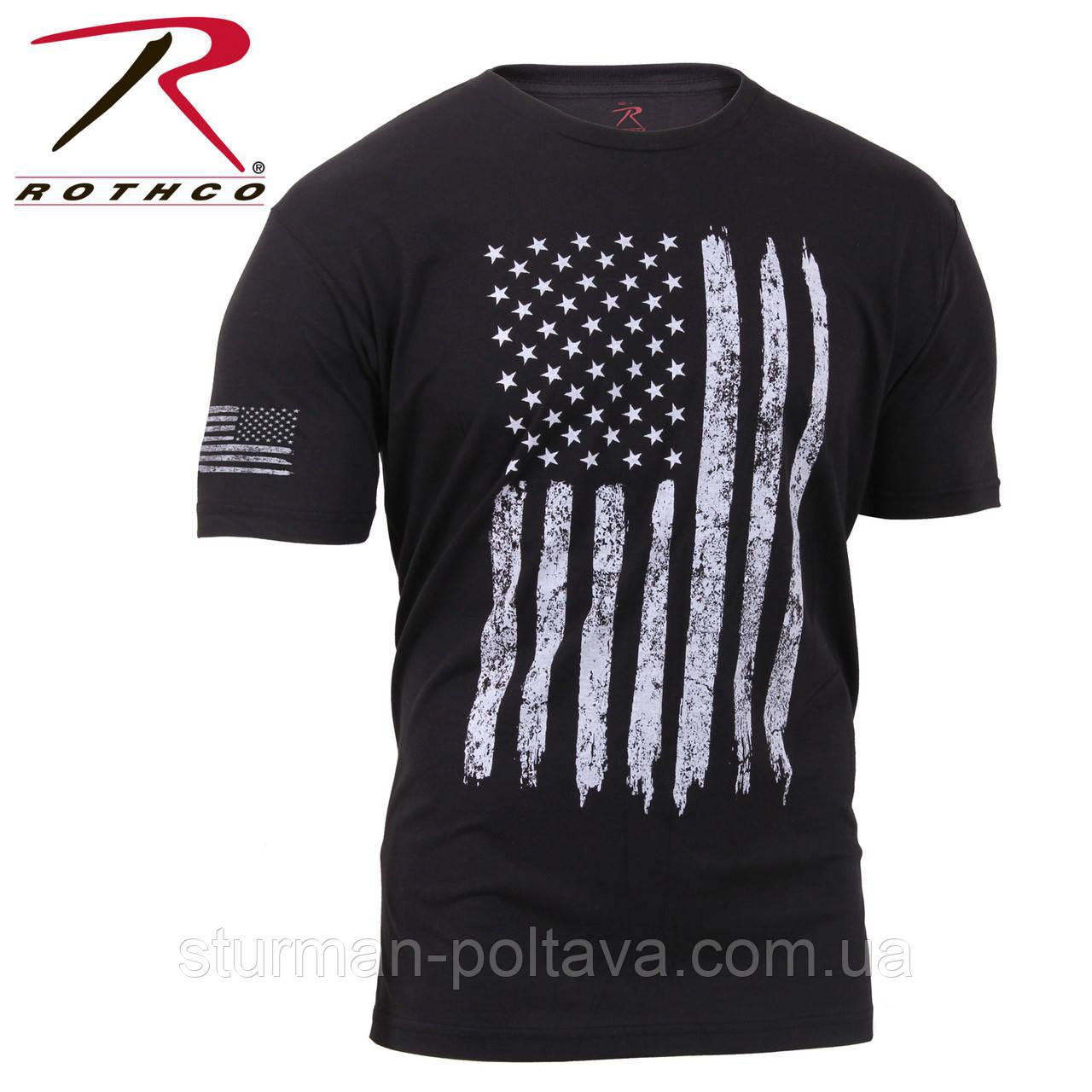 Футболка мужская винтажная патриотическая Distressed US Flag Athletic Fit с флагом США   черная   США
