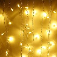 Штора 1.5х1.2м 144 led прозрачный провод, цвет желтый - декоративная гирлянда на Новый год