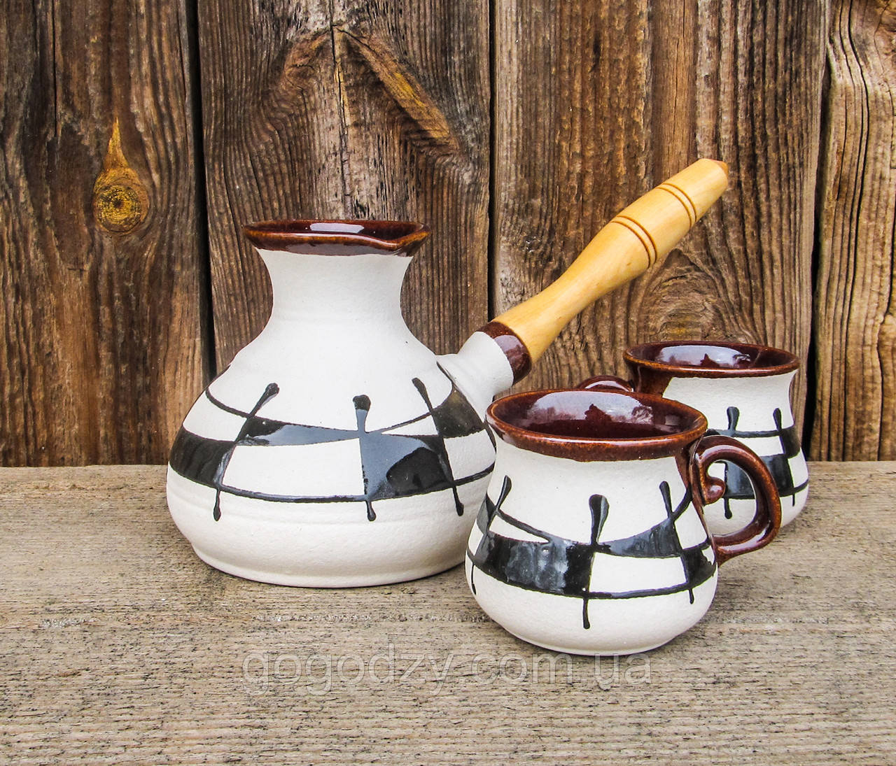 """Набір кавовий 400 мл. декор """"Ґаларетка"""" чорно-білий"""