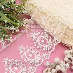 Кружево ванильного цвета с винтажными овалами, ширина 12 см