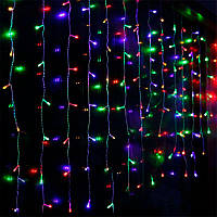 Штора 1.5х1.2м 144 led прозрачный провод, цвет разноцветный - декоративная гирлянда на Новый год